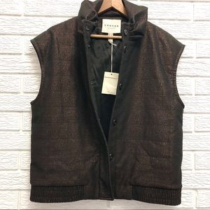 Lands End Vest(s) with Puff Collar, Metallic Brown